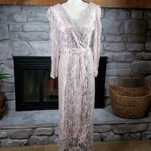 Vtg JCPenney lace long sleeve surplice gown 10P
